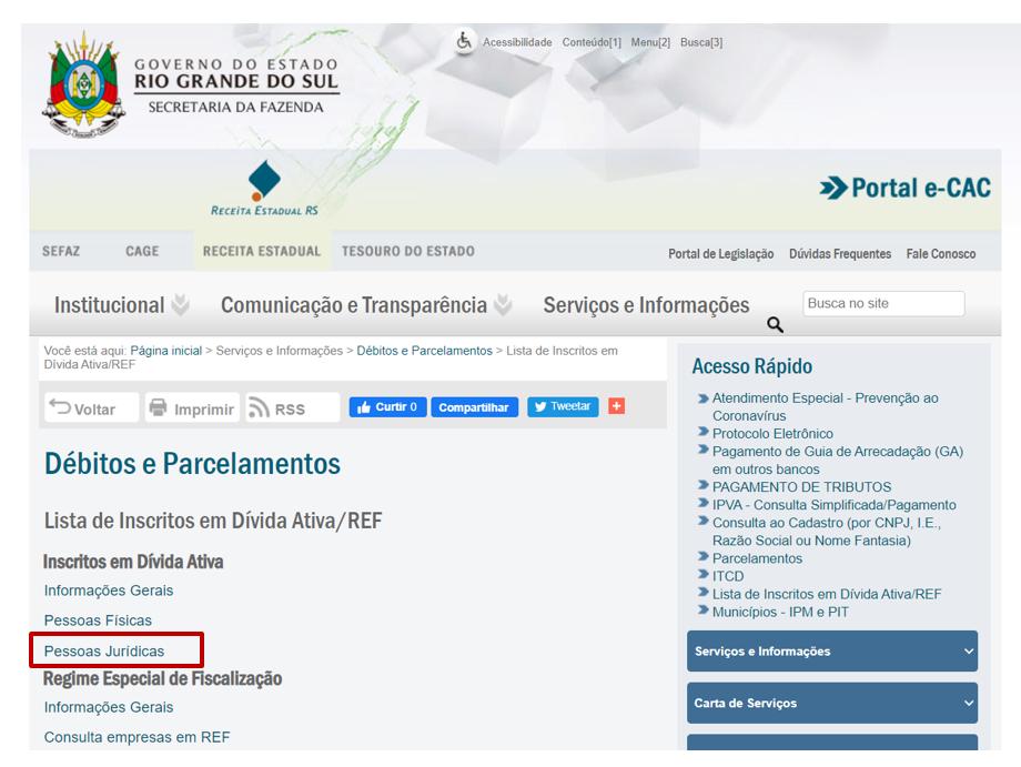 Site do Estado do RS